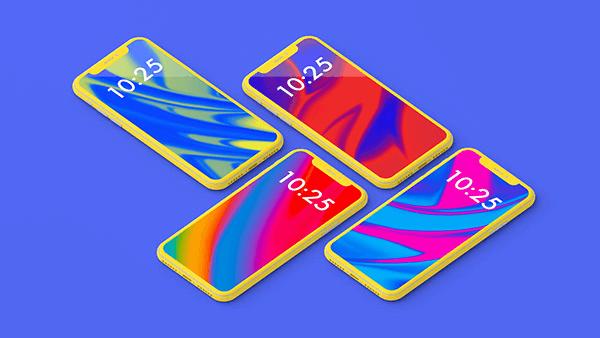 PSD мокап iPhone X. colorful iphone x showcase mockup