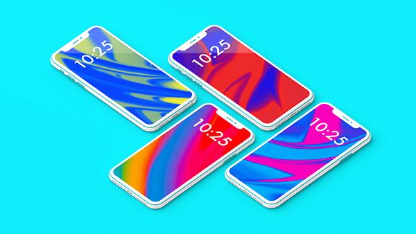 Мокап iPhone X. colorful iphone x showcase mockup