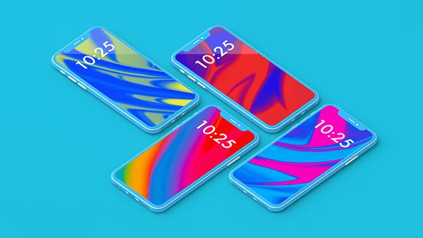 Бесплатный мокап iPhone X. colorful iphone x showcase mockup