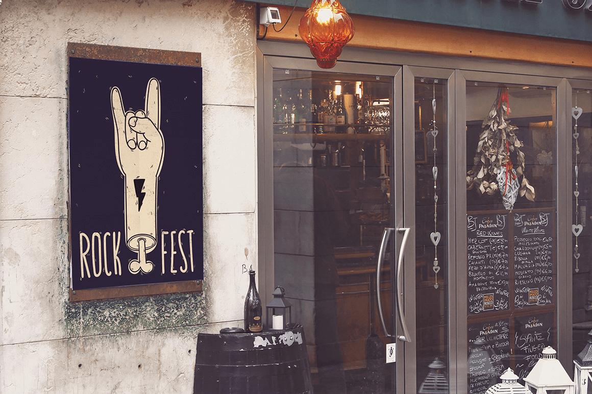 Мокап афиши. poster next to restaurant mockup