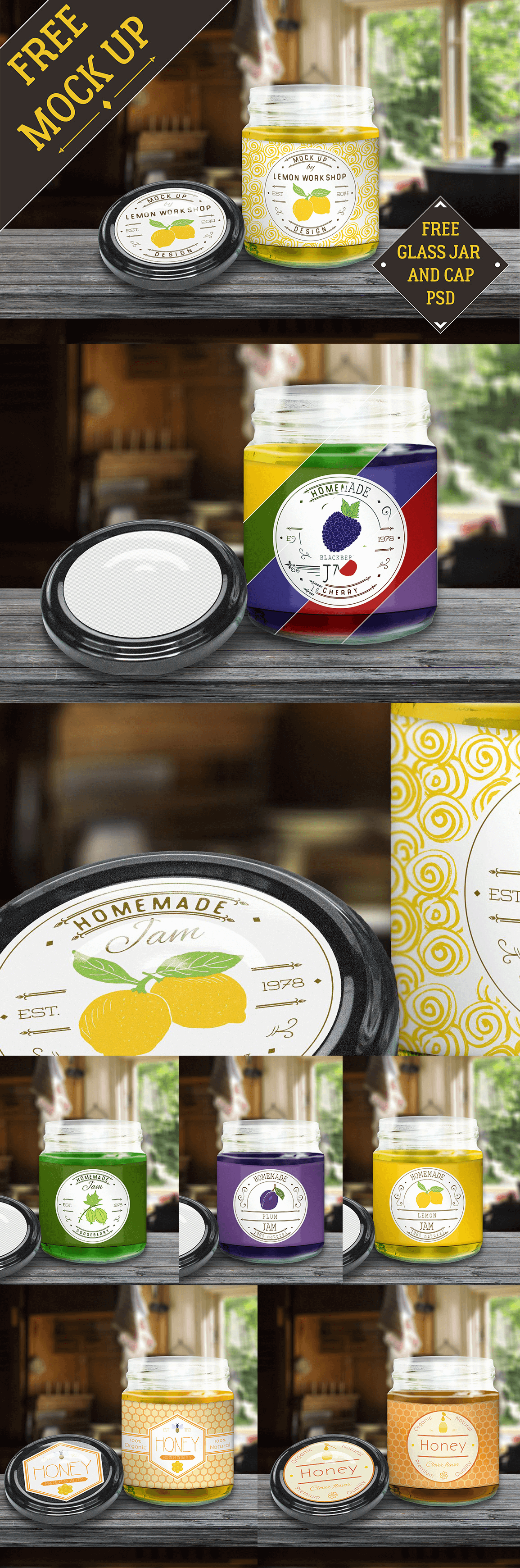 Мокап открытой стеклянной банки джема. jam jar with lid mockup