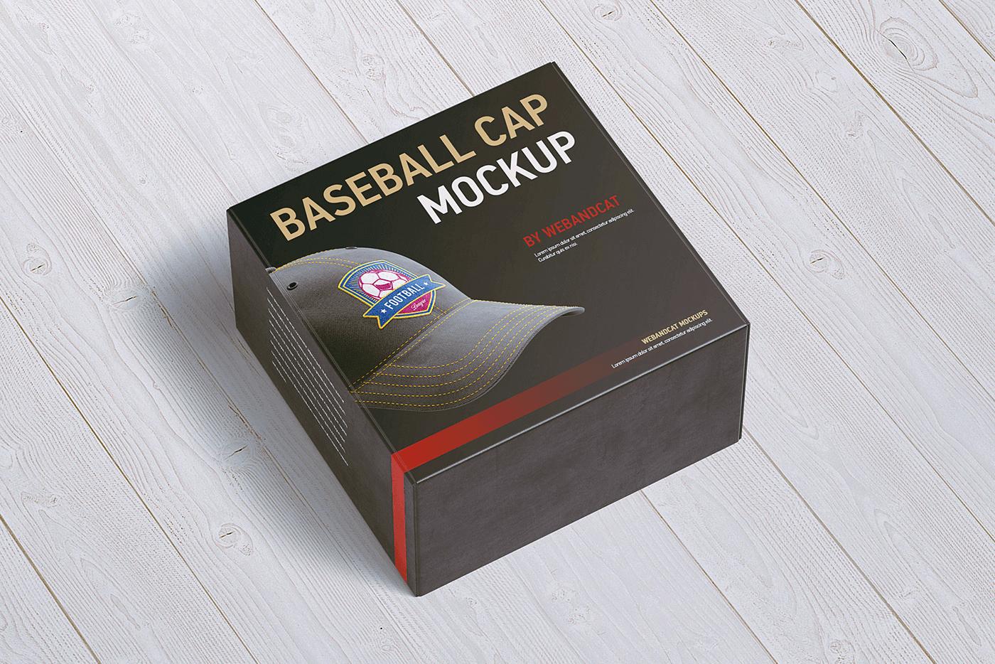 Мокап коробки для кепки. baseball cap top view mockup