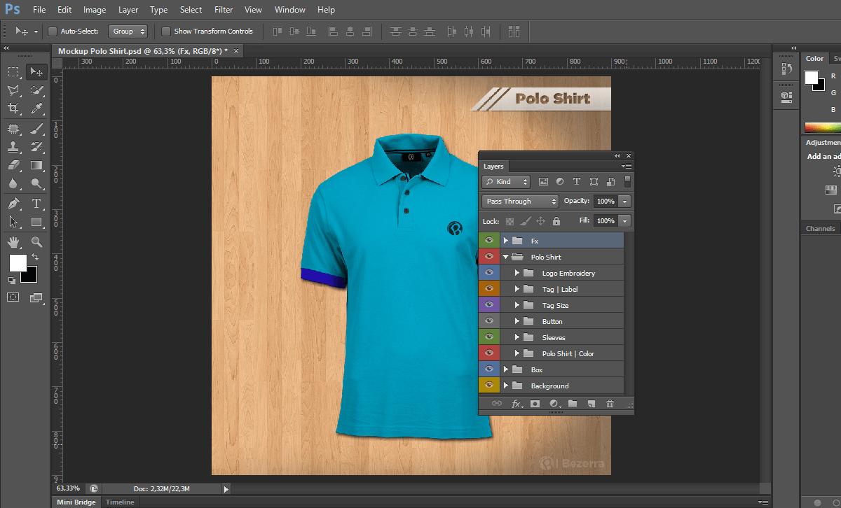 Создание дизайна рубашки поло. men s poloshirt mockup