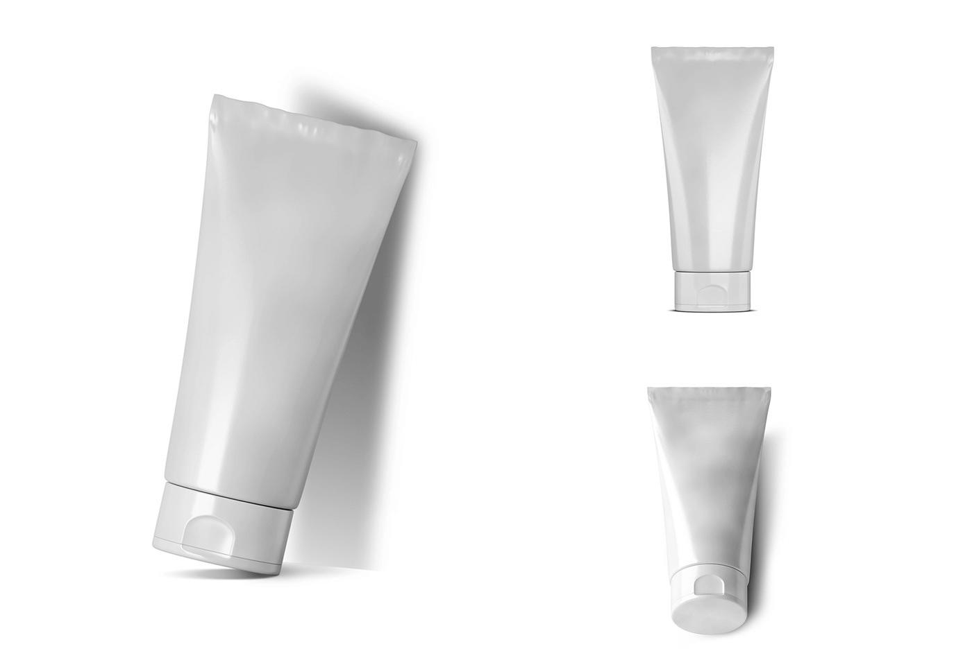 Мокап тюбика. Cosmetic tube mockup set