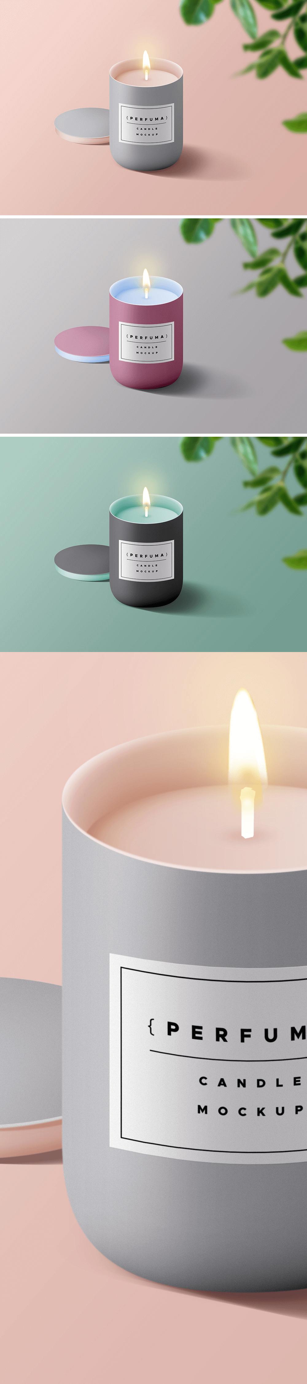 Мокап свечи с логотипом (макет свечи). branded psd candle mockup