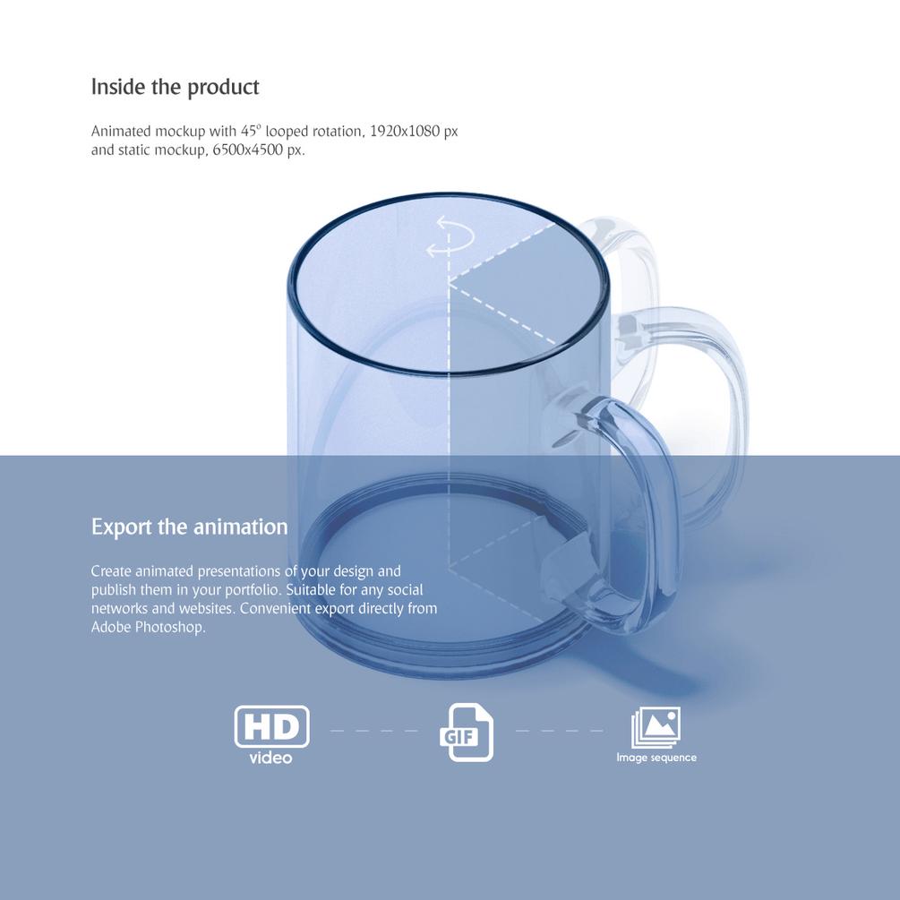 PSD мокап стеклянной кружки. animated glass mug mockup