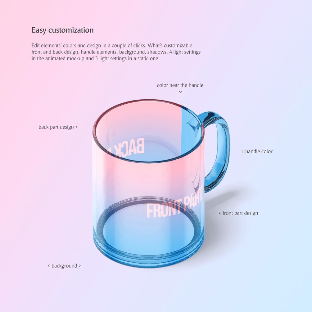 Мокап кружки. animated glass mug mockup