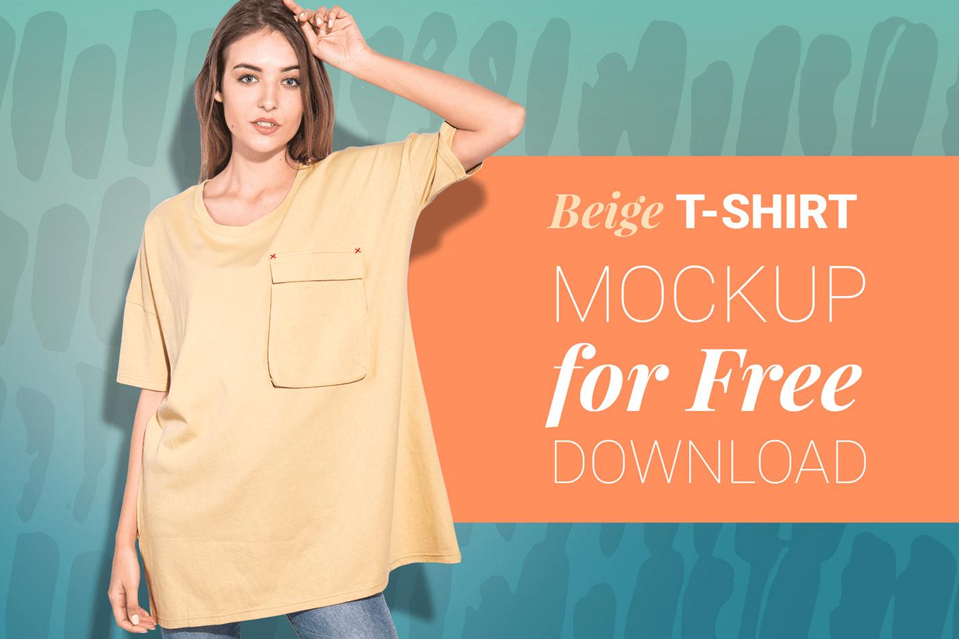 Бесплатный мокап женской футболки. women oversized t-shirt mockup