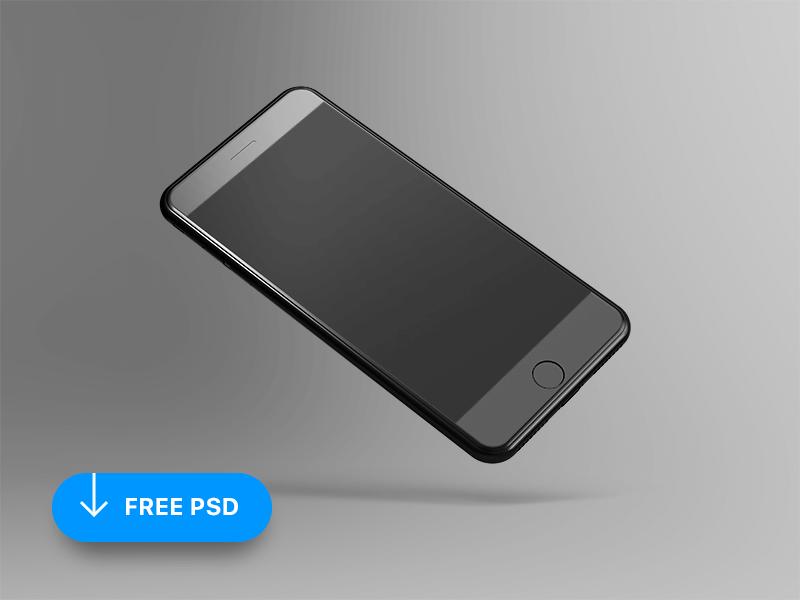 Мокап парящего iPhone 8. tilted and floating iphone mockup