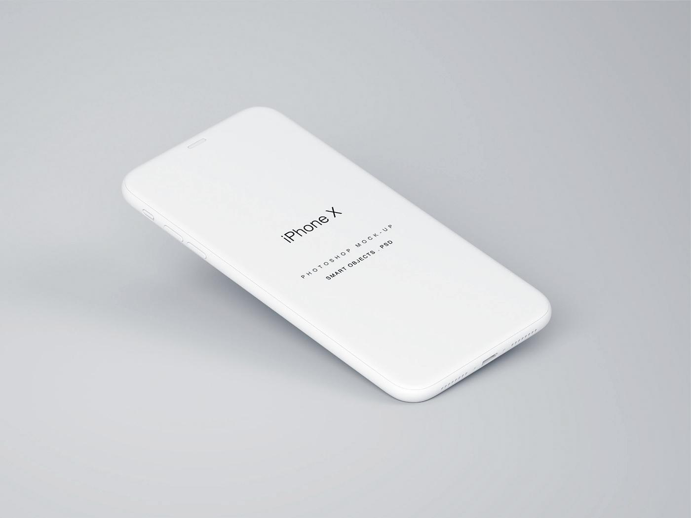 Мокап парящего iPhone X. perspective iphone x mockup