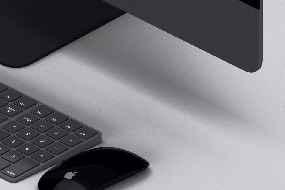 Мокап iPad, iPhone и iMac Pro. isometric devices mockup