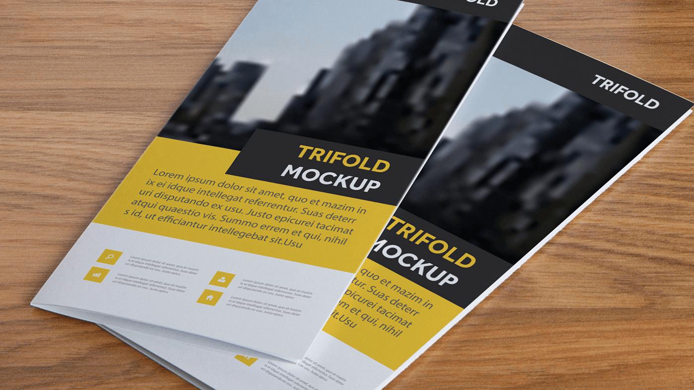 Мокап буклета. trifold brochure mockup