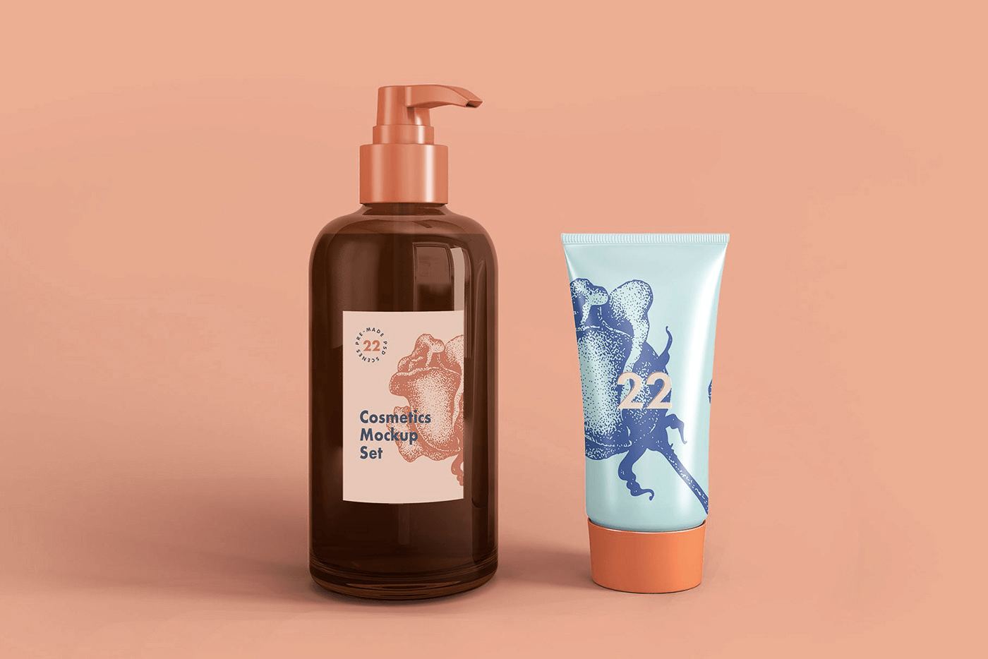 Мокап косметических средств. liquid soap and cream tube mockup