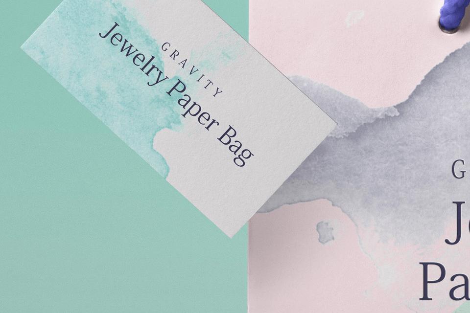 Мокап визитки и бумажного пакета. paper shopping bag mockup