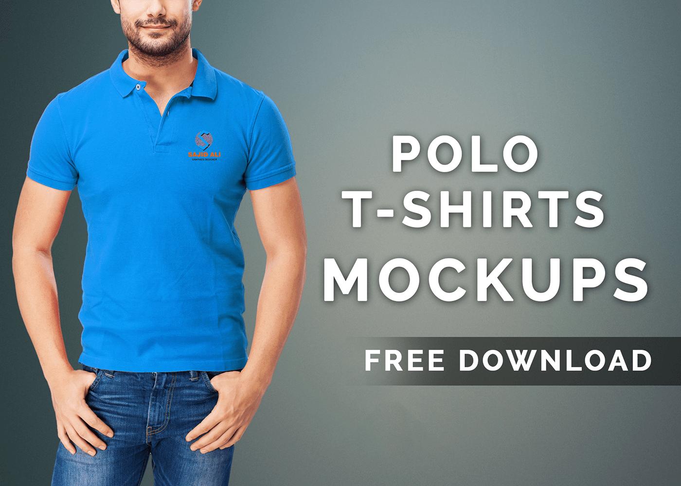 мокап футболки поло. set of polo shirt mockups