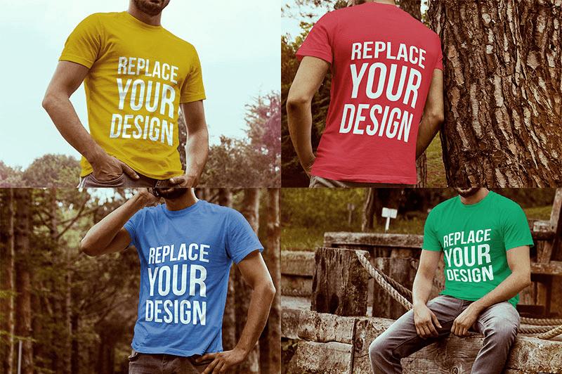 Мокапы футболок на мужчинах. t-shirt mockups