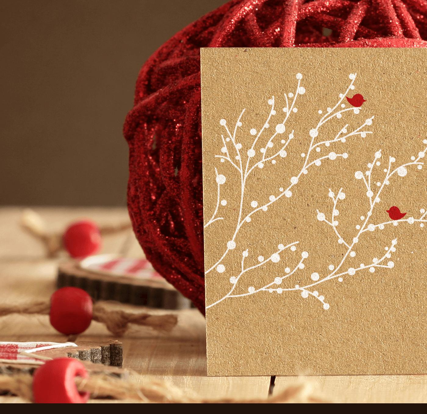 мокап новогодней открытки