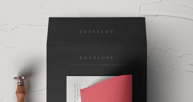 Мокап конверта и листа бумаги