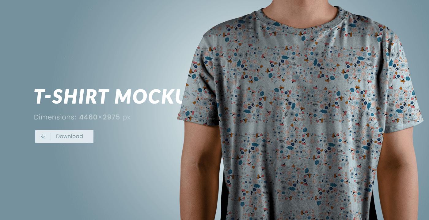 Бесплатный PSD мокап человека в футболке. T-Shirt Mockup