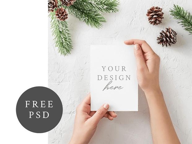 PSD макет открытки А5. Card Mockup