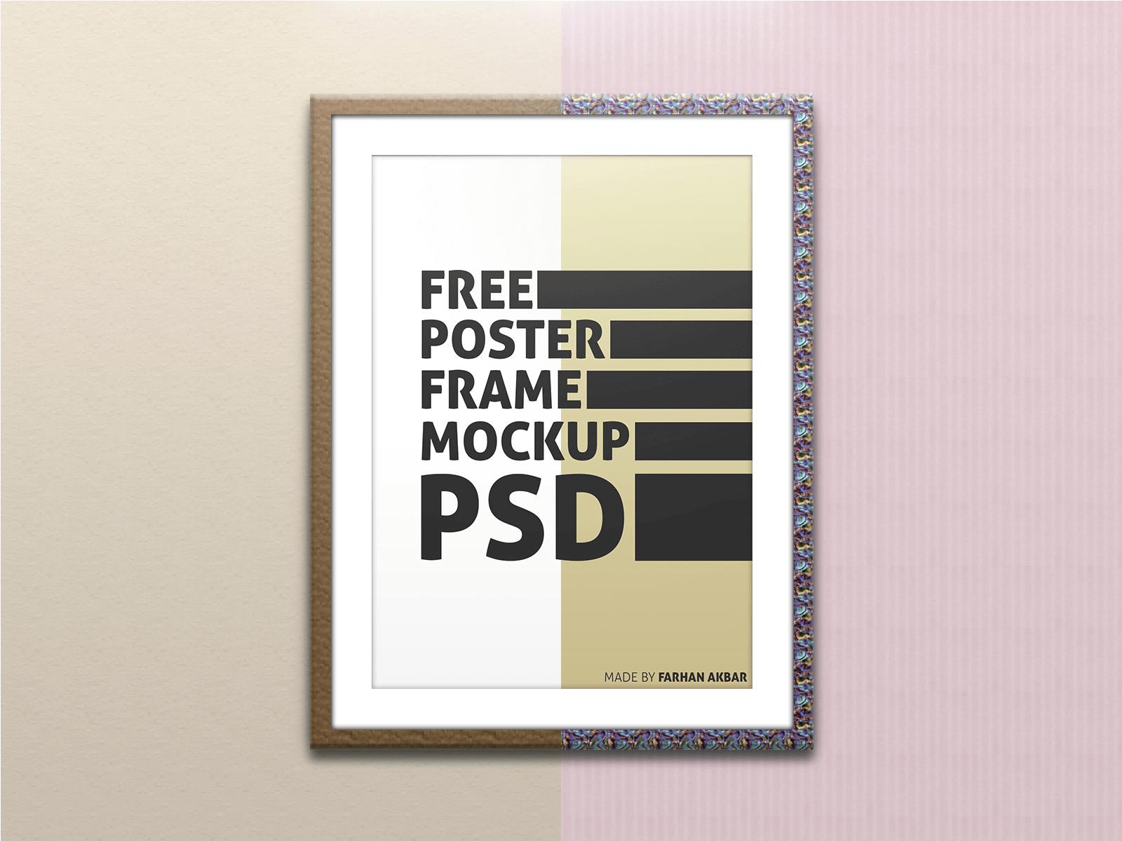 PSD мокап постера в рамке